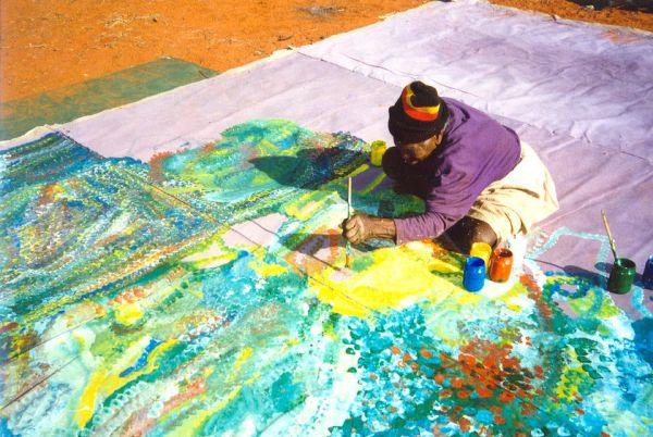 Emily painting at Utopia