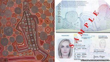 Australian passport with Uta-Uta          Tjangal's Yumari design.